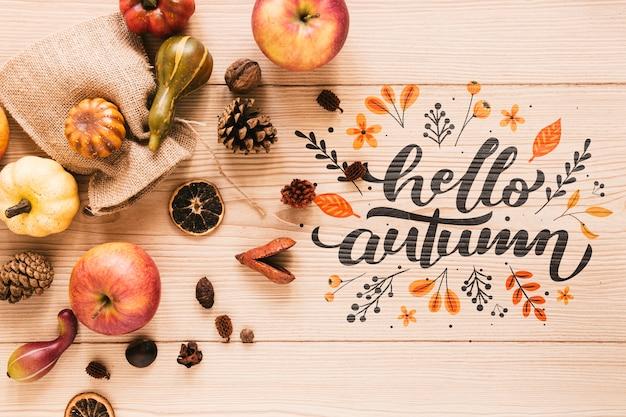 Manzanas con hola otoño cita