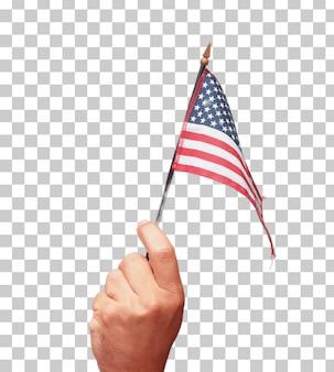 Mão masculina isolada segurando uma bandeira dos EUA