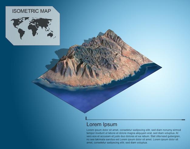 Mapa isométrico del terreno virtual 3d para infografía.
