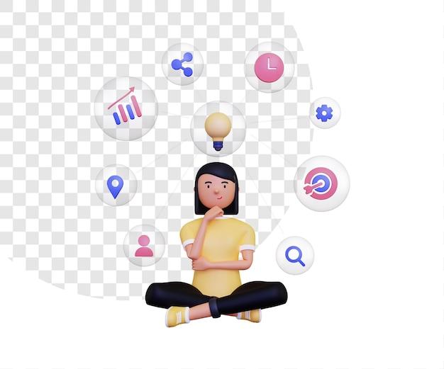 Mapa mental 3d con iconos dentro de burbujas