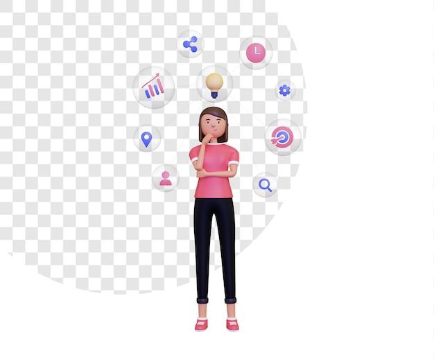 Mapa mental 3d con personaje femenino de pie e icono en burbuja