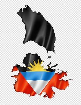 Mappa di bandiera di antigua e barbuda