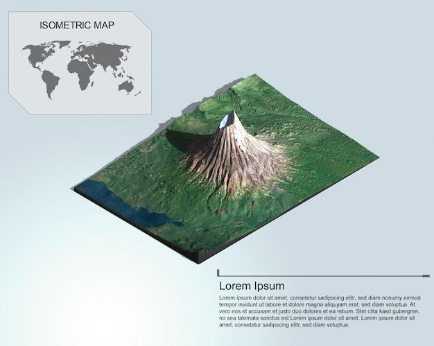 Mappa isometrica terreno virtuale 3d per infografica.