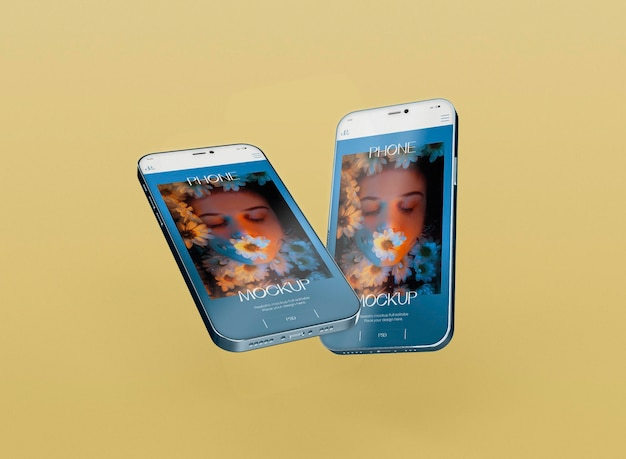 Maqueta 3d de dos teléfonos inteligentes. imagen no incluida
