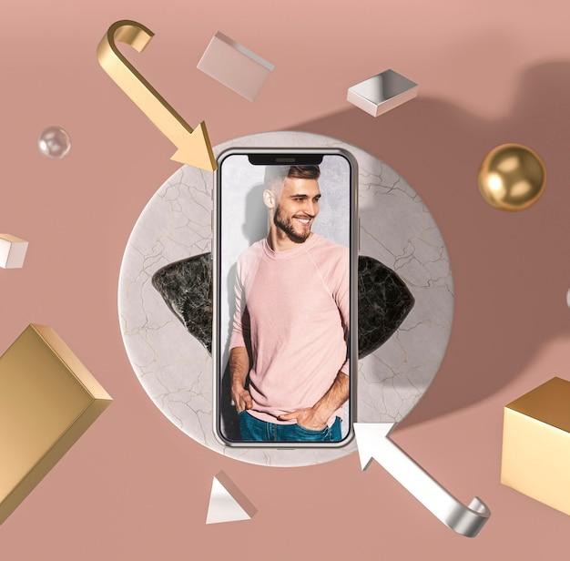 Maqueta 3d de teléfono móvil con hombre de moda