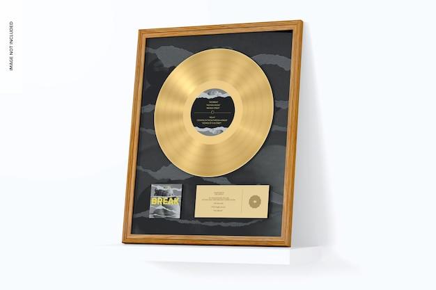 Maqueta de álbum dorado, inclinada