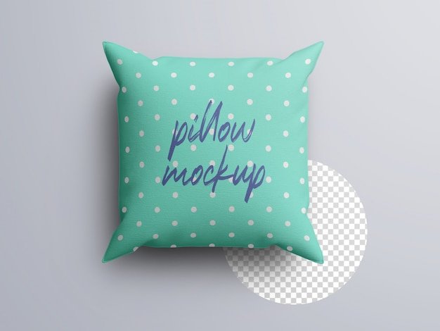 Maqueta de almohada de cojín de tela de vista superior realista