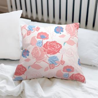 Maqueta de almohada de flor de cerezo psd, remezcla de obras de arte de megata