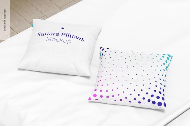 Maqueta de almohadas cuadradas, perspectiva