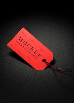 Maqueta de alta vista viernes negro etiqueta de precio rojo