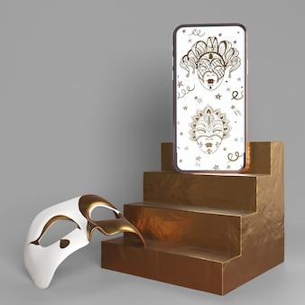 Maqueta de aplicación de carnaval de teléfono móvil y máscara con escaleras