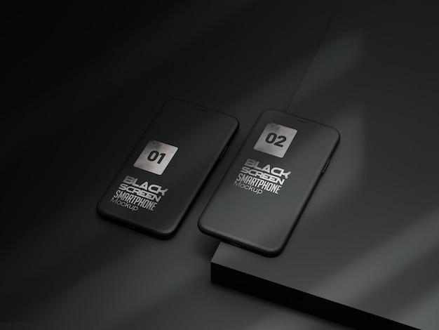 Maqueta de arcilla negra para teléfono inteligente o dispositivo multimedia