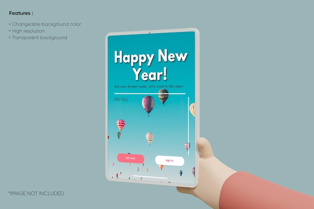 Maqueta de arcilla de tableta de pantalla completa con dibujos animados de mano 3d