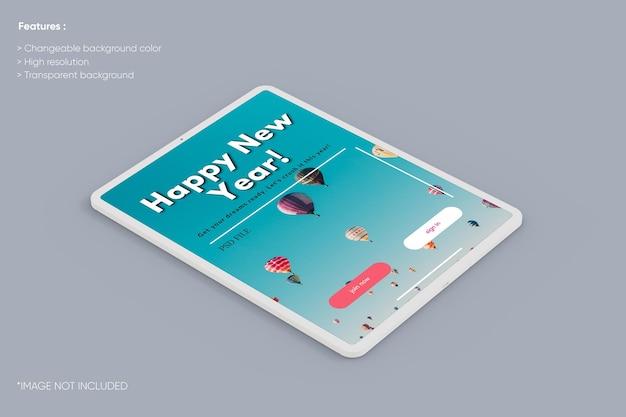 Maqueta de arcilla de tableta de pantalla completa