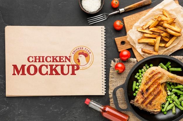 Maqueta de arreglo de comida de pollo