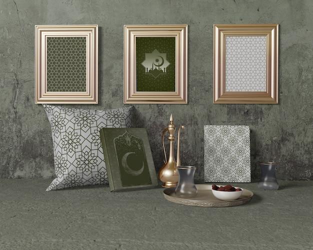 Maqueta de arreglo festivo de ramadán
