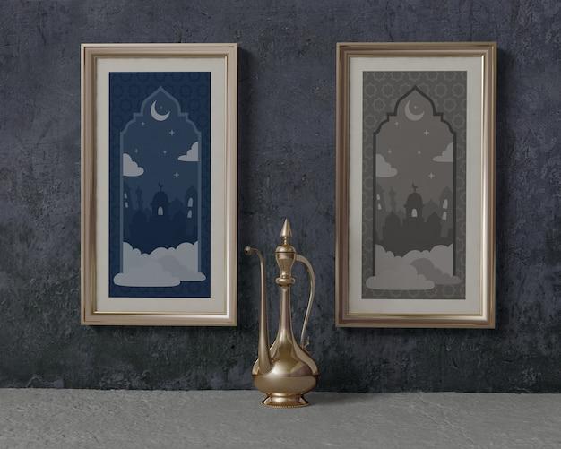 Maqueta de arreglo de ramadán con marcos