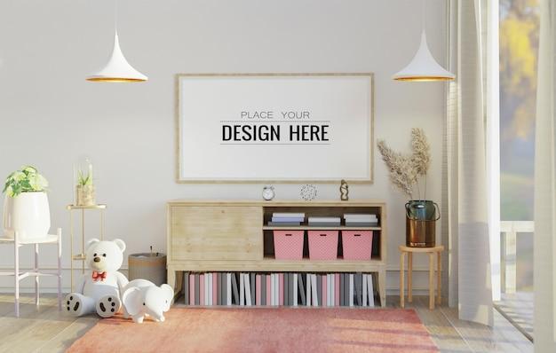 Maqueta de arte de pared, lienzo o marco de imagen en la sala de estar
