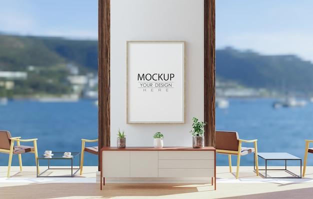 Maqueta de arte de pared, marco de lienzo en la sala de estar