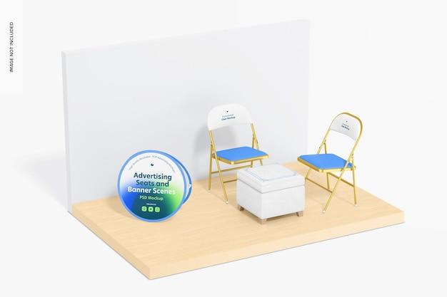 Maqueta de asientos publicitarios y escenas de pancartas, perspectiva