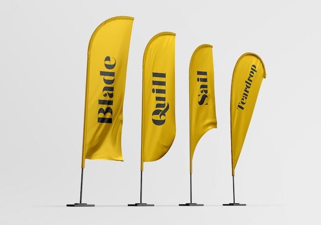 Maqueta de banderas de plumas