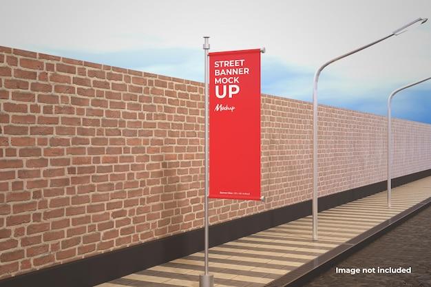 Maqueta de banner de calle en perspectiva