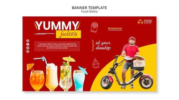 Maqueta de banner de concepto de comida en línea