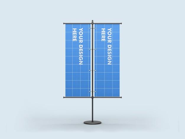 Maqueta de banner doble de soporte vertical
