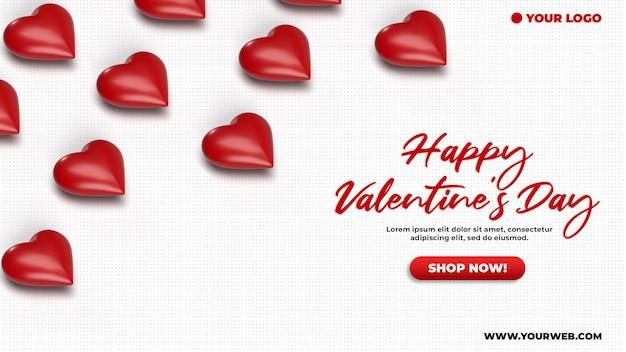 Maqueta de banner isométrico de celebración de san valentín 3d de redes sociales