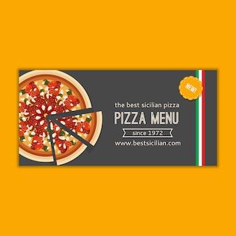 Maqueta de banner de menú de pizza
