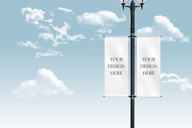 Maqueta de banner de poste de luz