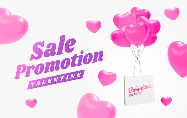 Maqueta de banner de promoción de compras de san valentín