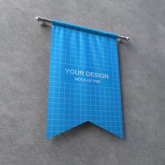 Maqueta de banner textil en pared gris