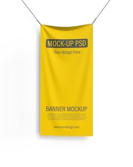 Maqueta de banner textil vertical