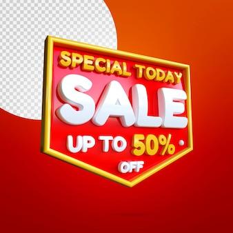 Maqueta de banner de venta especial 3d aislado en rojo