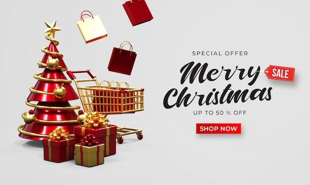 Maqueta de banner de venta de feliz navidad con carro, bolsas de compras, cajas de regalo y pino