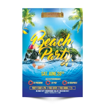 Maqueta de beach party flyer