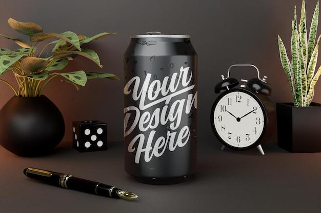 Maqueta de bebida enlatada sobre fondo oscuro