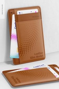 Maqueta de billetera delgada de cuero, inclinada