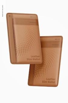 Maqueta de billetera delgada de cuero