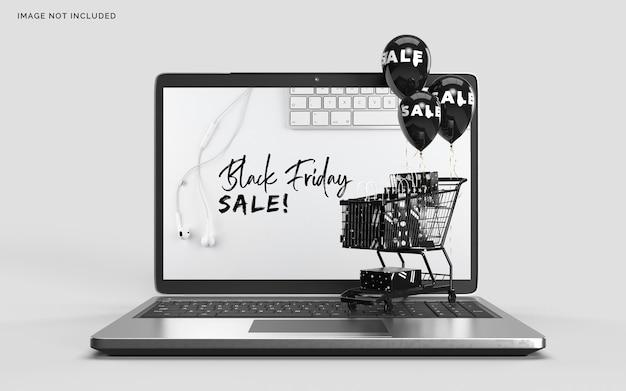 Maqueta de black friday con laptop