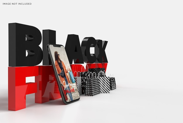 Maqueta de black friday con texto, teléfono inteligente y bolsas de compras