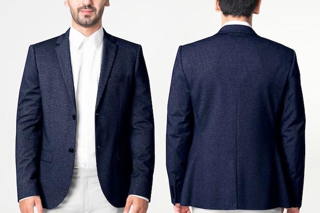 Maqueta de blazer para hombre, psd, ropa de negocios, moda, cuerpo completo y conjunto de vista trasera