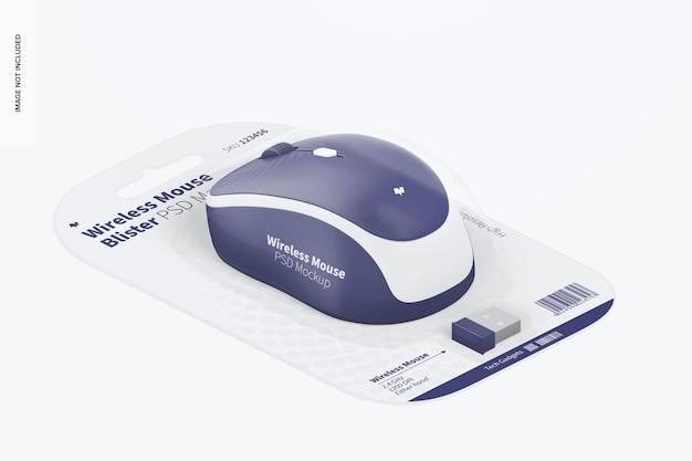 Maqueta de blíster de mouse inalámbrico, vista isométrica derecha