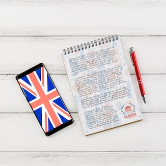 Maqueta de bloc de notas de academia de inglés