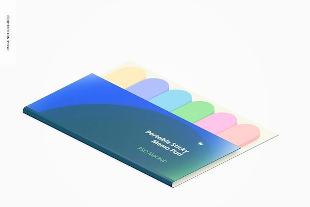 Maqueta de bloc de notas adhesivas portátil, vista isométrica derecha