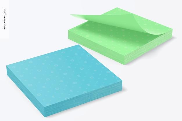 Maqueta de blocs de notas adhesivas cuadradas