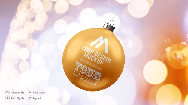 Maqueta de bola de navidad dorada aislada
