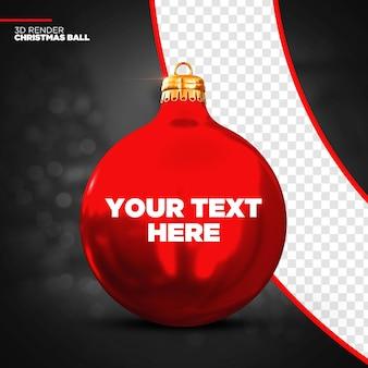 Maqueta de bola de navidad roja 3d render aislado