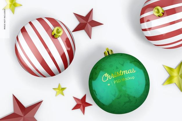 Maqueta de bolas navideñas brillantes, vista superior